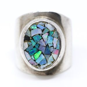 Sterling Crushed OPAL Mosaic Knuckle Ring 5.25